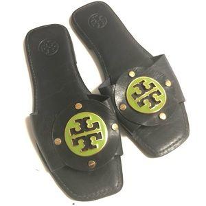 Tory Burch Logo Gaby Slide Sandal Size 9 Black